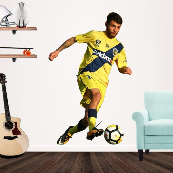 Daniel DeSilva playing football for the Central Coast Mariners Popout decal on a wall.