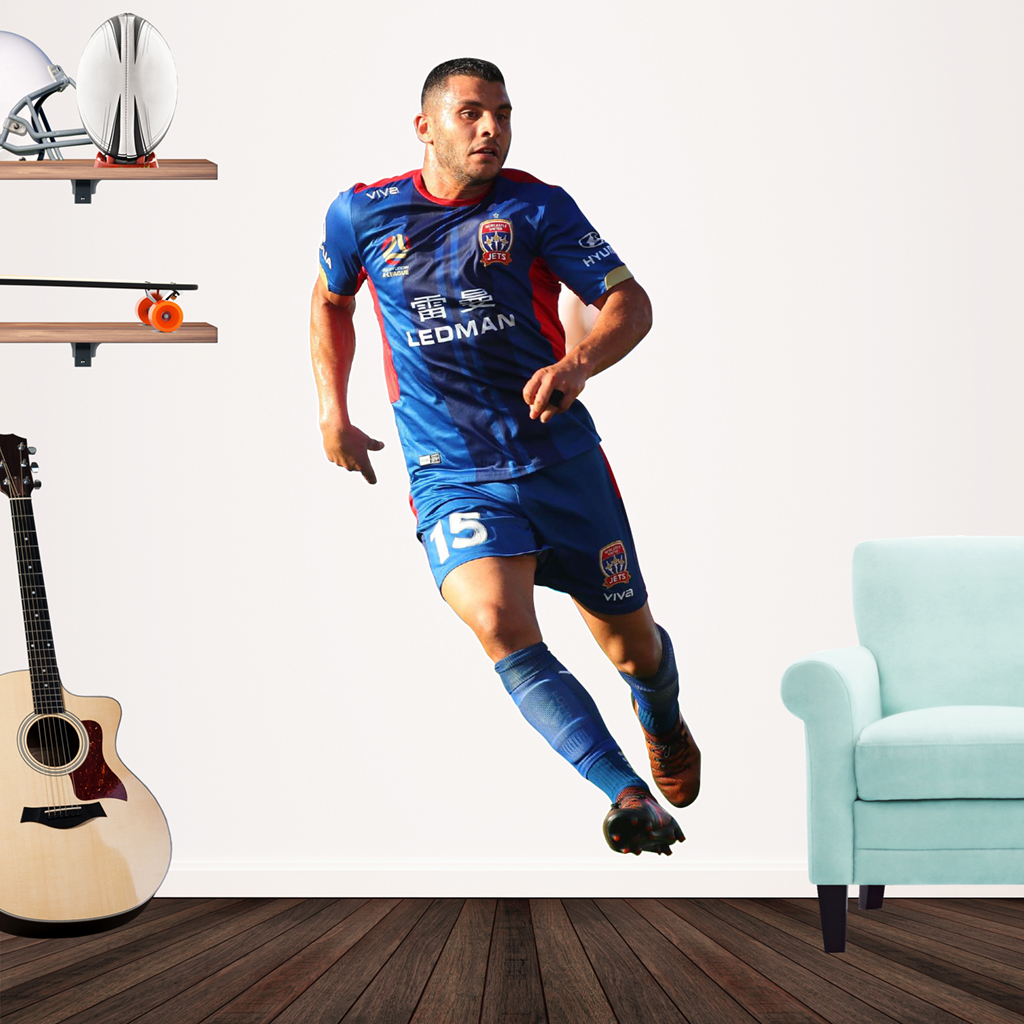Andrew Nabbout playing football for the Newcastle Jets Popout decal on wall