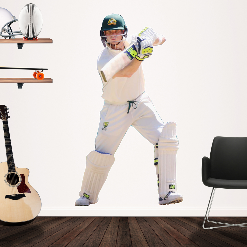 Action shot of Steve Smith playing test cricket Popout decal on wall