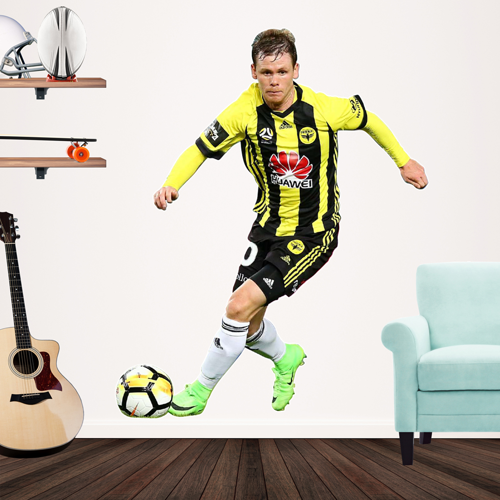 Michael McGlinchey playing Football for the Wellington Phoenix Popout decal on a wall