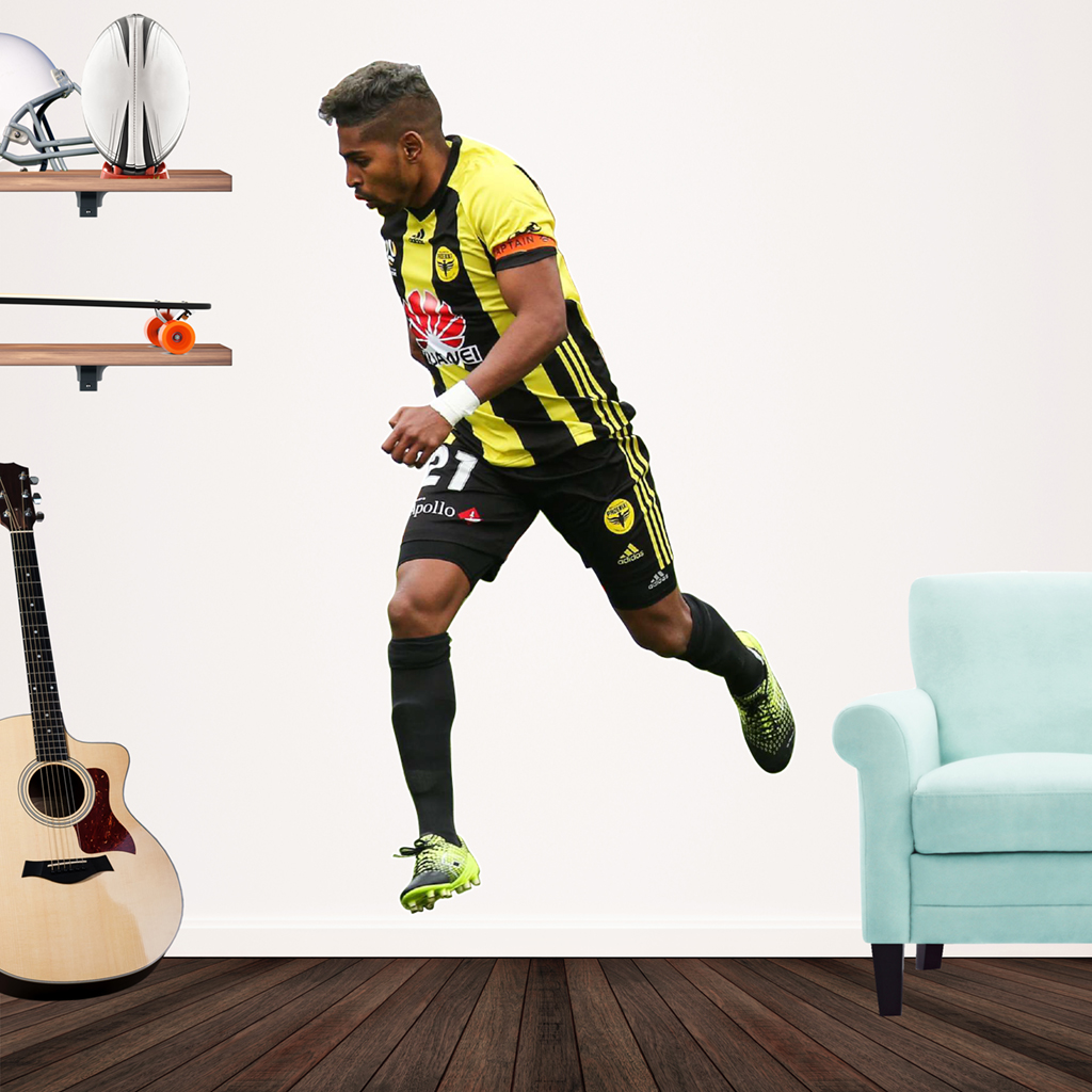 Roy Krishna playing Football for the Wellington Phoenix Popout decal on a wall
